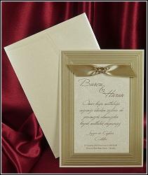 Svatební oznámení se slepotiskovým obrazovým rámem, na ploše vyzdobené velmi bohatými slepotiskovými ornamenty, připomínající brokátovou látku, dozdobené stužkou, vzor 5406