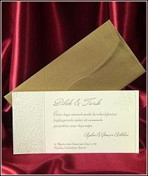 Kytičkované svatební oznámení z lehce nažloutlého strukturovaného papíru ve formě jednodílné karty, vzor 5410