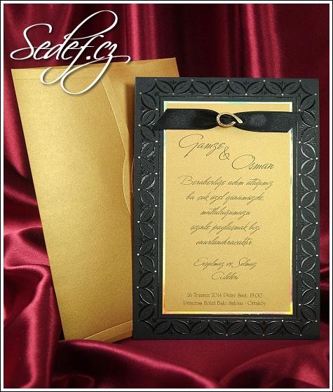 Černo zlatá luxusní kombinace barev svatebního oznámení, vzor 5413
